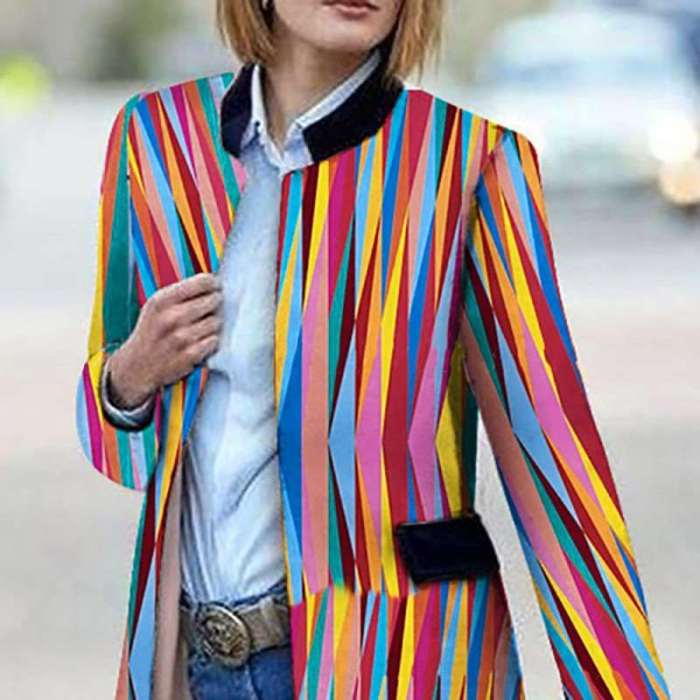 Fashion Stripe Stand collar Tee Blazer