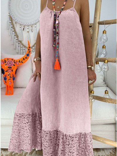 Loose Lace Pure Sleeveless Vest Maxi Dresses