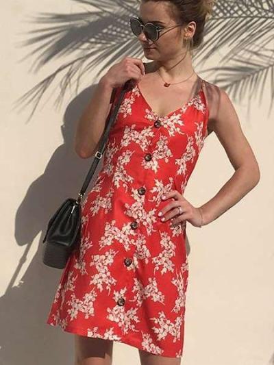 Fashion Print V neck Vest Fastener Shift Dresses
