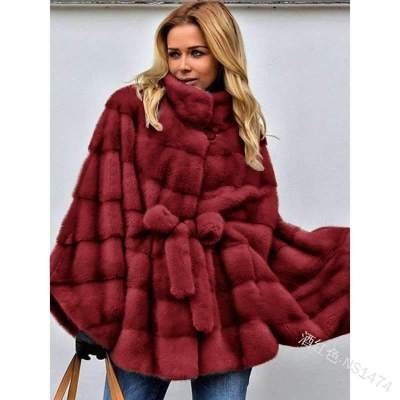 Fashion Casual Pure Fur Stand collar Long sleeve Lacing Coats