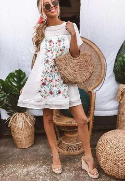 Fashion Print Gored Round neck Short sleeve Shift Dresses
