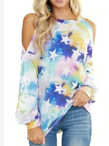 Fashion Print Round neck Long sleeve Off shoulder T-Shirts