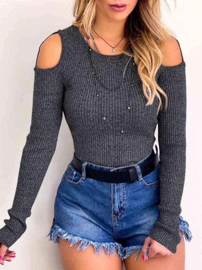 Pure Round neck Off shoulder Long sleeve Tee Sweaters