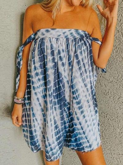 Casual One shoulder Plaid print Shift Dresses