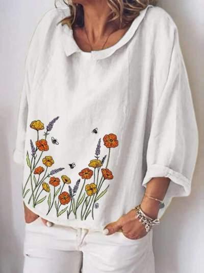 Casual Loose Lapel Long sleeve Print T-Shirts