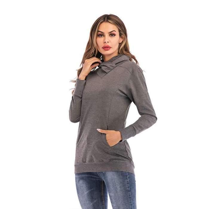 Casual Pure Long sleeve Sweatshirts