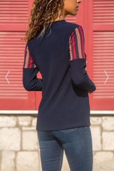 Fashion Casual Stripe Stitching Long Sleeve Hoodies T-Shirts