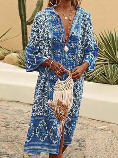 Floral printed v-neck button-down loose cardigan style maxi dresses