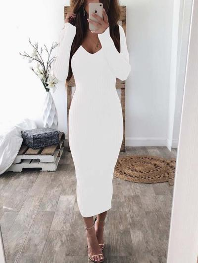 Sexy V neck long sleeves comfortable knit bodycon dresses