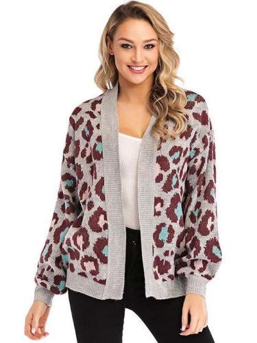 Sexy Loose Leopard print Knit Cardigan