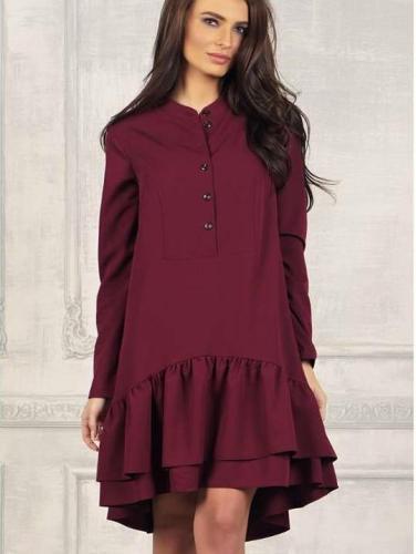 Casual Round neck Long sleeve Falbala Long sleeve Shift Dresses