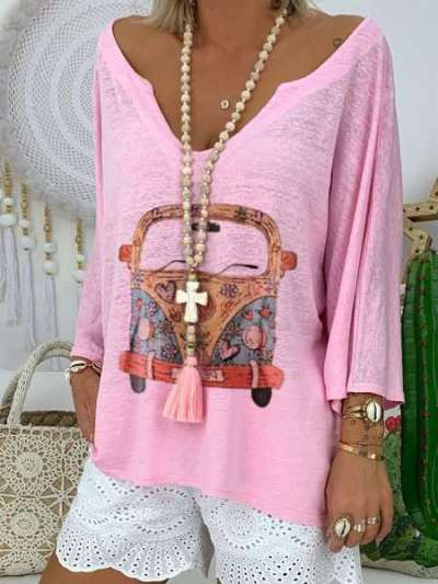 Casual Print V neck Long sleeve T-Shirts