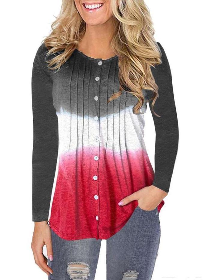 Fashion Gradient Long sleeve Fastener T-Shirts