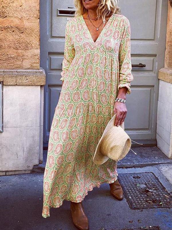 V neck long sleeve printed maxi dresses