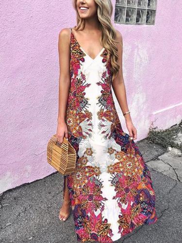 Bohemian Vintage Summer V neck Maxi Dresses