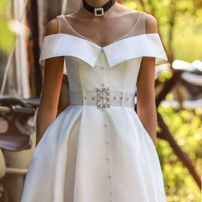 Fashion Sexy Pure One shoulder Vent Skater Evening Dresses
