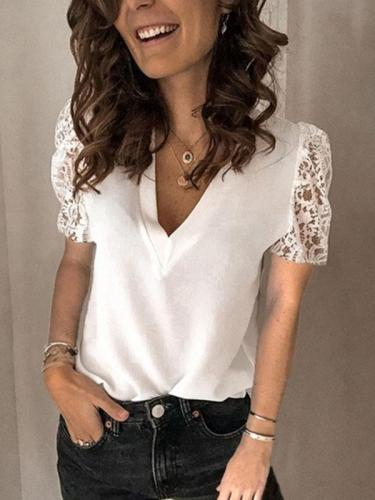 Women lace v neck short sleeve plain T-shirts