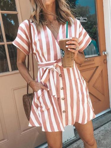 Fashion Stripe Short Sleeve V Neck Casual Skater Mini Dress