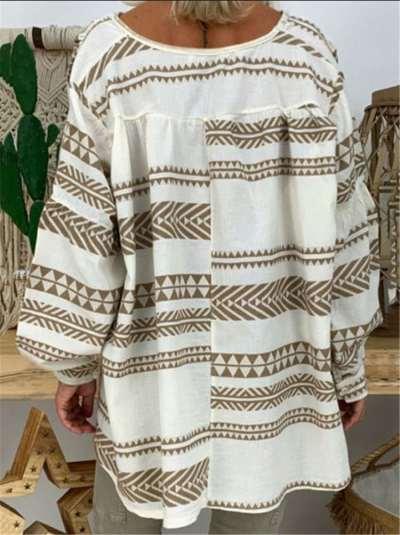 Casual V neck Long sleeve Print T-Shirts