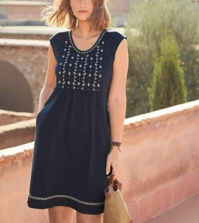 Casual Print Round neck Sleeveless Pocket Shift Dresses