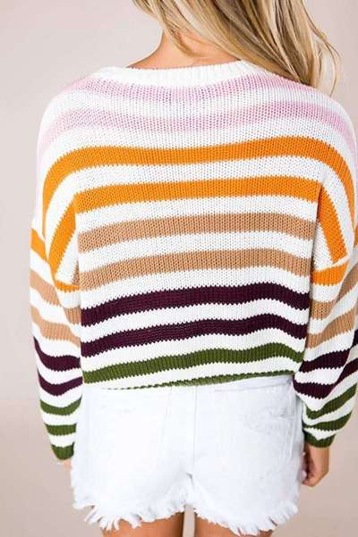 Fashion Stripe Round neck Long sleeve Sweaters