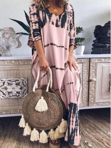 Casual Loose Print Round neck Half sleev Maxi Dresses