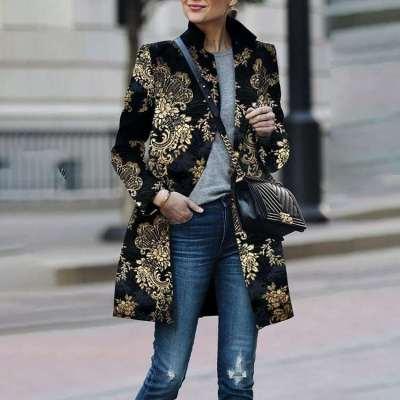 Fashion Print Stand collar Long sleeve Coats
