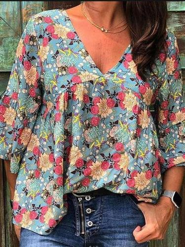 Casual Loose Print V neck Long sleeve Blouses