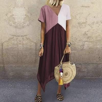 Casual Loose Gored V neck Short sleeve Irregular Maxi Dresses