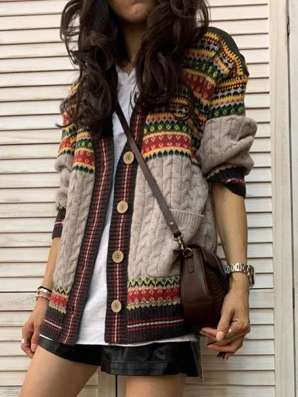 Fashion Print Gored Long sleeve Knit Cardigan