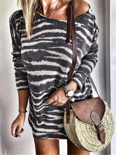 Fashion Stripe print Plus Round neck Long sleeve Shift Dresses