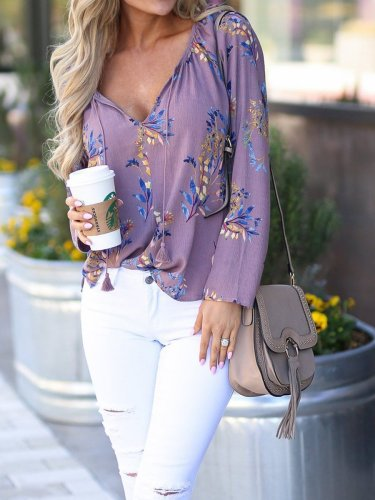 Tie Collar  Tassel  Printed Shirts&Blouses