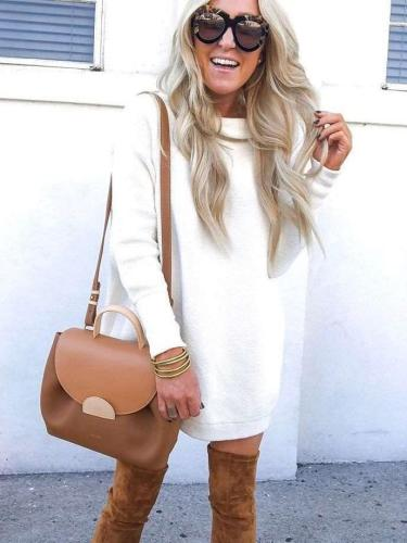 Fashion Casual Pure High collar Long sleeve Shift Sweater Dresses