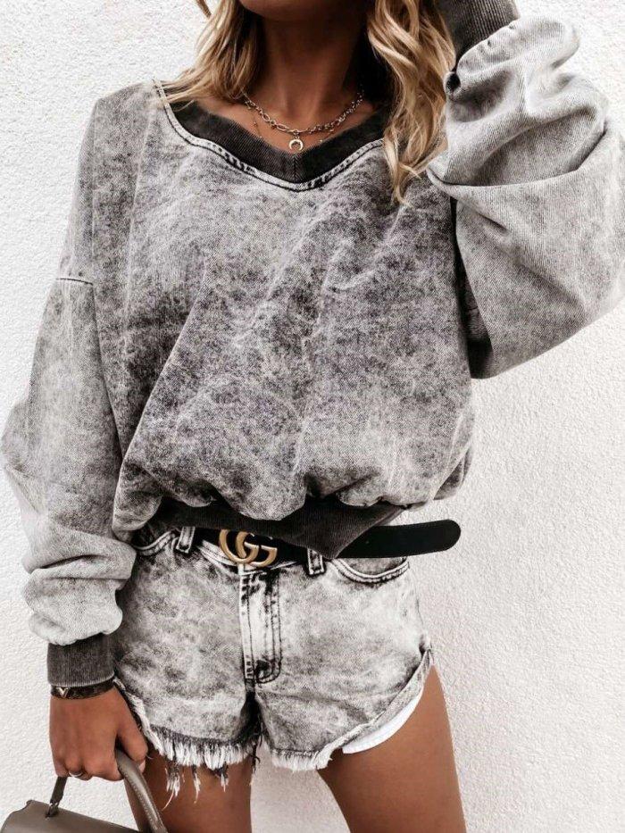 Fashion Casual Loose V neck Long sleeve Sweatshirts