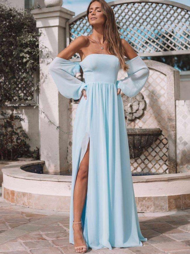 Fashion Off shoulder Vent Evening Dresses