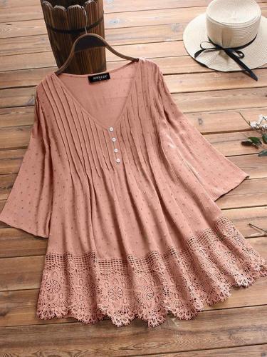 Plain cut-out slim v-neck button women blouses