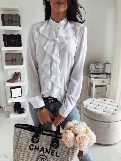 Fashion Falbala Pure Stand collar Long sleeve Blouses