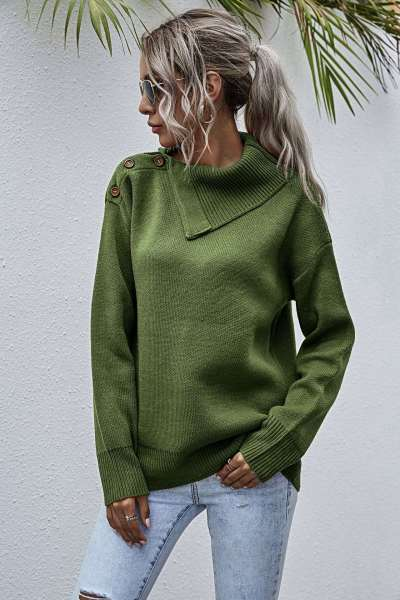 Fashion Pure Lapel Long sleeve Knit Sweaters