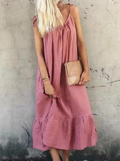 Cotton and linen halter Loose Plain Maxi dresses