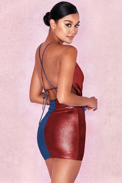 Sexy Vest Backless Gored Bodycon Dresses
