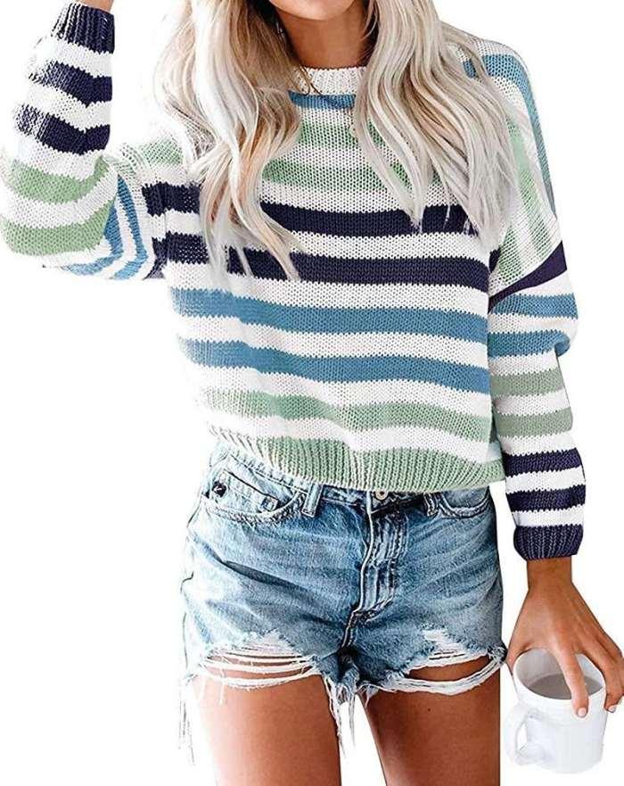Fashion Stripe Round neck Long sleeve Sweaters