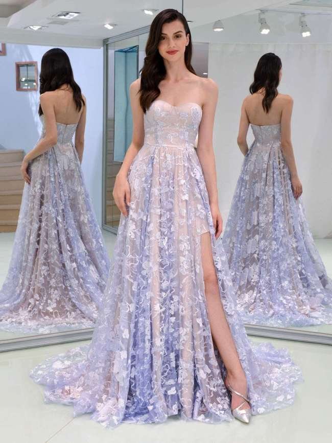 Sexy Lace Backless Evening Dresses