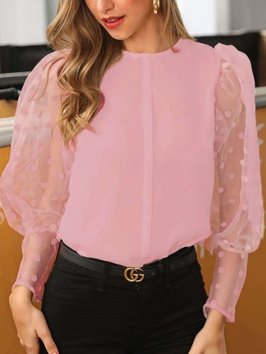 Fashion Elegant Lace Gored Long sleeve Point Blouses