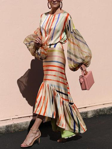 Rainbow stripe two-piece dress long sleeves round collar maxi dresses