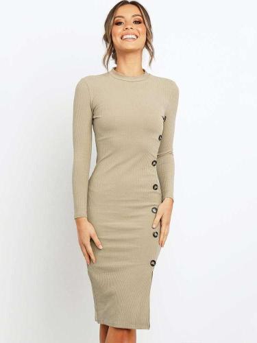 Sexy Pure Tee Round neck Long sleeve Bodycon Dresses