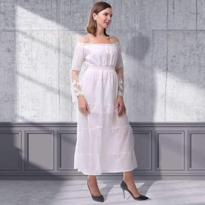 Pure High waist One shoulder Long sleeve Maxi Dresses