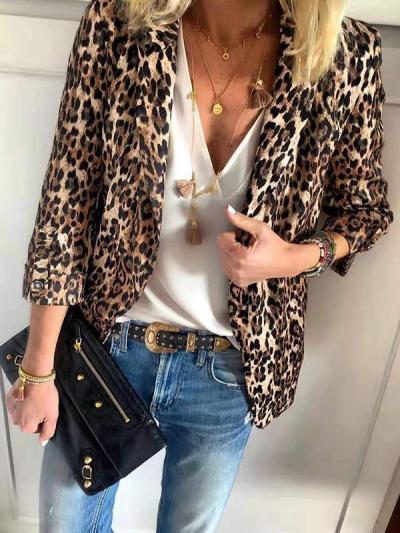 Leopard printed Turn down collar women blazers