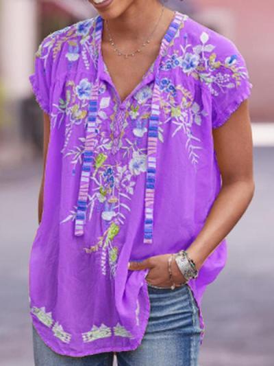 Floral printed V neck short sleeve T-shirts
