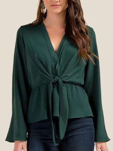 Fashion Elegant Lacing V neck Long sleeve Blouses