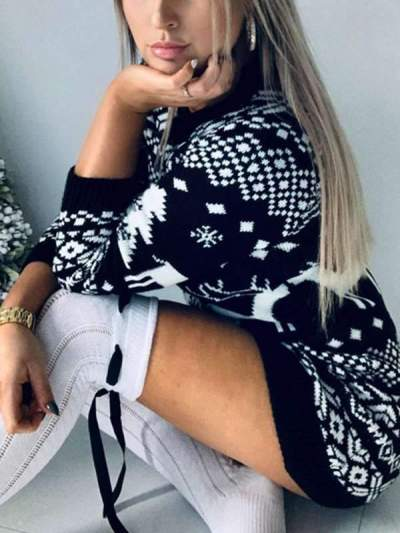 Women knit Christmas theme long sleeve sweater dress bodycon dresses